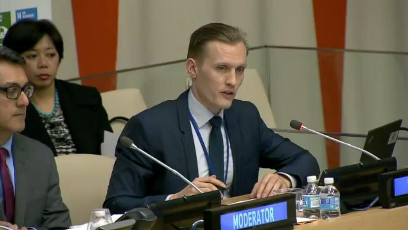 Nils Simon beim Expert Group Meeting von UNDESA in New York