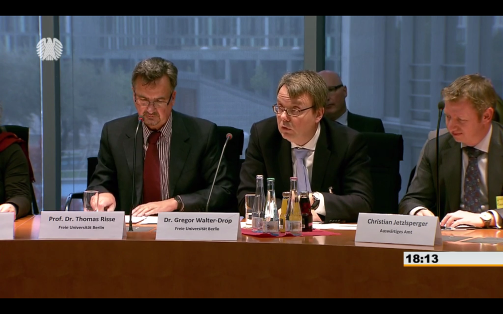 Thomas Risse and Gregor Walter-Drop at a meeting of the Subcommittee on Civilian Crisis Prevention, Conflict Management, and Coordinated Action in the Committee on Foreign Affairs of the German Bundestag