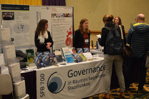 The SFB 700's book and information stand at the 56th Annual Convention of the ISA in 2015.