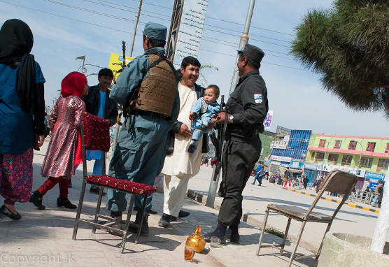 Security presence in Mazar-i-Sharif during the Nowruz celebration in 2015.