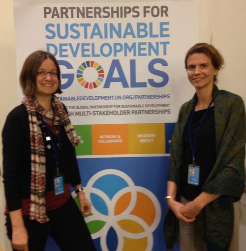 Marianne Beisheim and Anne Ellersiek at the UN High-level Political Forum on Sustainable Development 2016