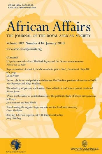 Cover: African Affairs, 109 (434), 97-114.